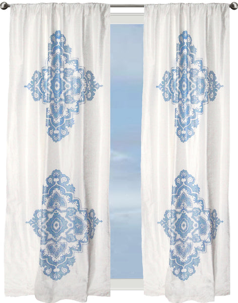 Indian Ocean Crest Curtain - blue on off-white