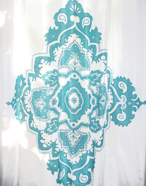 Indian Ocean Crest Curtain - turquoise on white