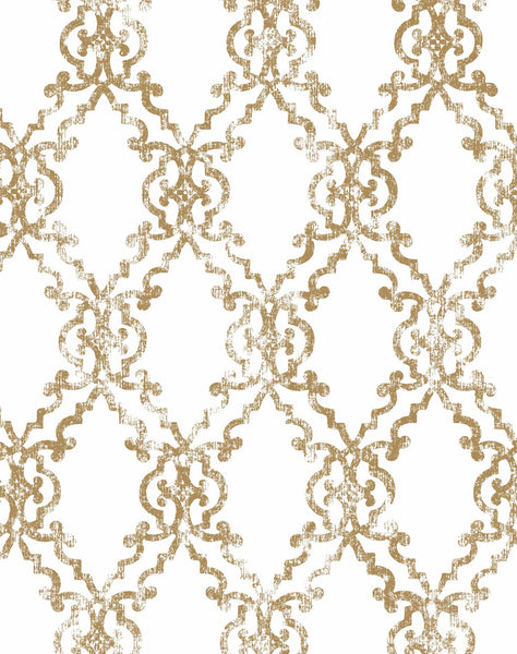 Moorish Tendencies wallpaper - gold (hue) & white