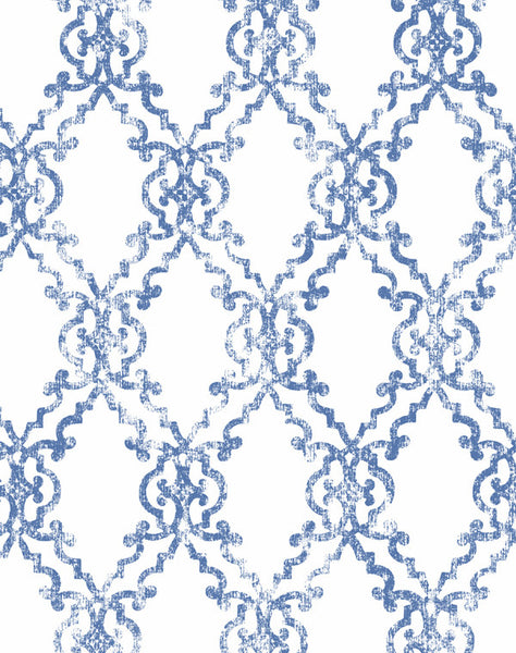 Moorish Tendencies wallpaper - peri blue & white