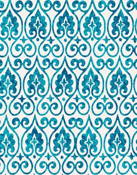 Moroccan Lights Fabric - turquoise, blue & white