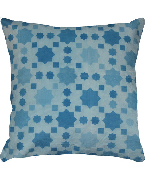 Moroccan Star Pillow - blues & white