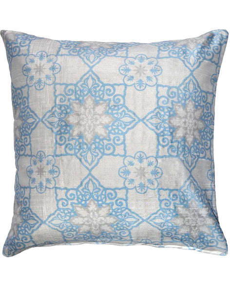 Moroccan Star Geometric pillow - blue on pale grey