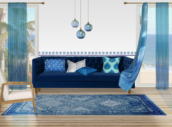 Ombre Indienne Border Sheer curtain - blues