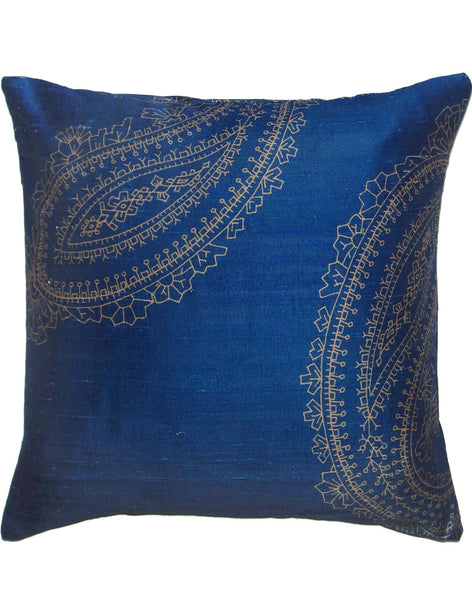 Paisley Geometric pillow - navy blue & gold