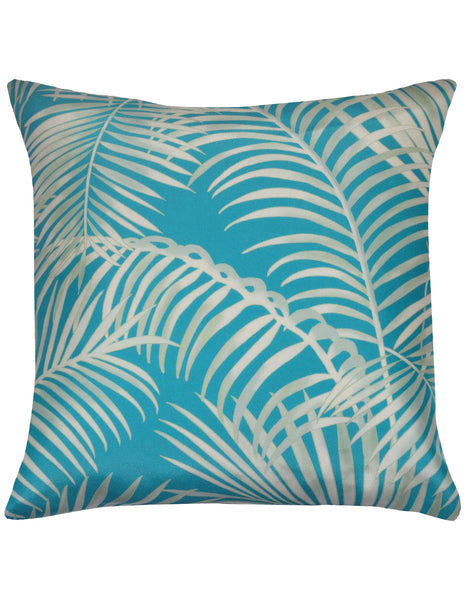 Majestic Palm Pillow - turquoise