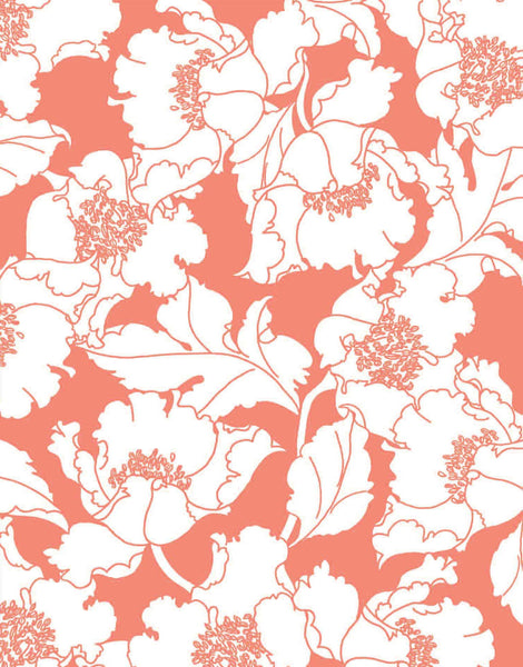 Wild Poppies wallpaper - coral on off-white