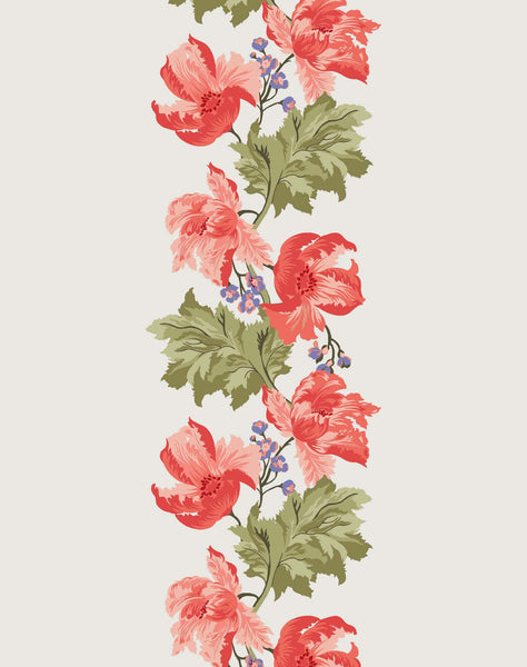 Poppy Mania Wallpaper - coral & sage on ivory