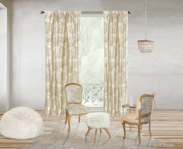 Poppy Swirl curtain - wheat