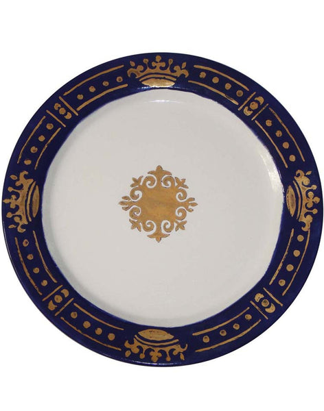 Prince's Dinner Plate - Gold on Blue
