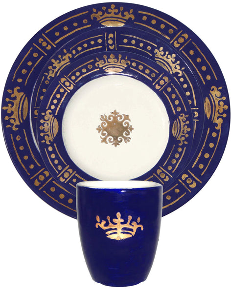 Prince's Coffee Cup - Gold on blue
