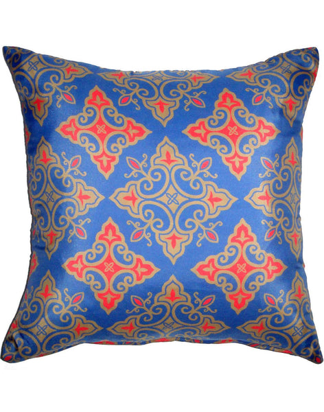 Celestial Friends pillow - red and gold on blue