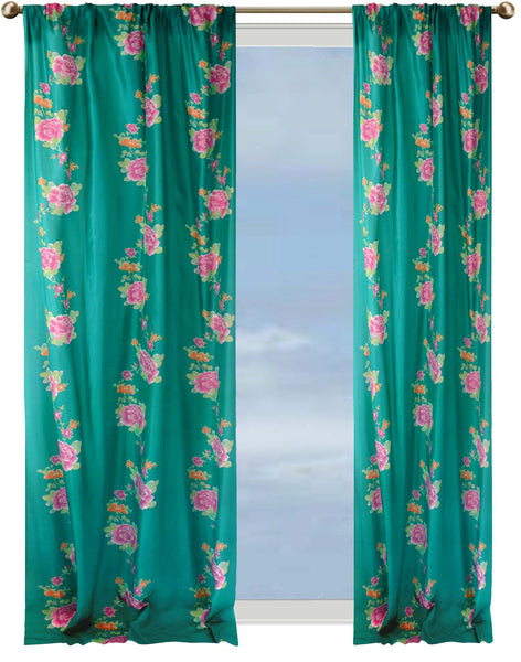 Roses Chinoises Curtain - jade & pink