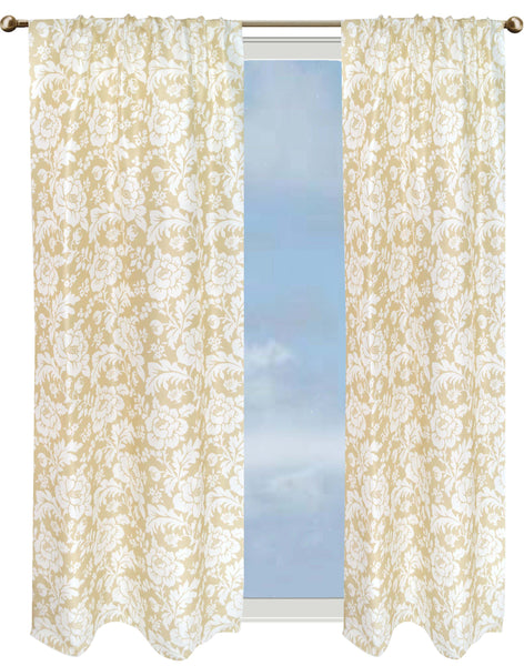 Safari Floral curtain - light yellow & white