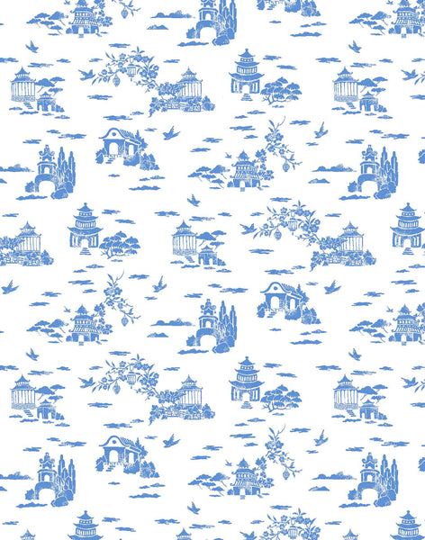 Living in Clouds Fabric - blue & white
