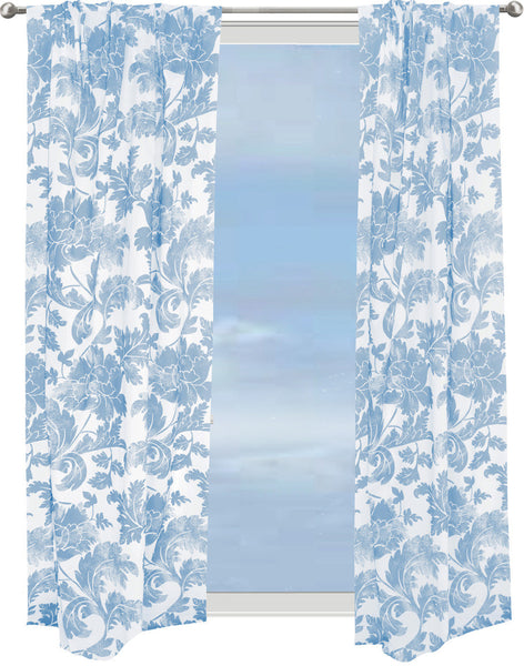 Floral Stencil Curtain - blue on white