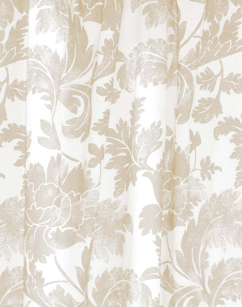 Floral Stencil Curtain - flax on white