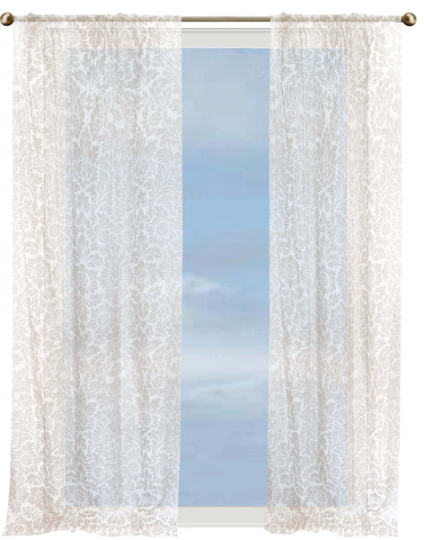 Sun Dance Sheer Curtain - mocha on white