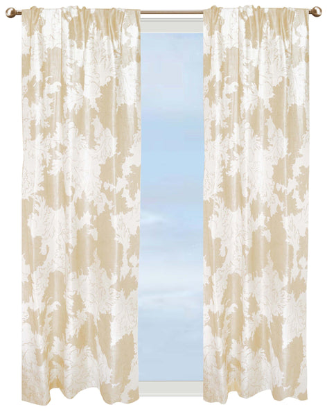Gold Leaf Curtain - Gold on White