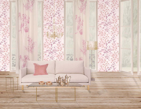 La Vie en Rose curtain - orchid on ivory