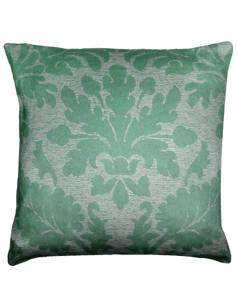 Oak Brocade pillow - green & grey