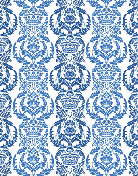 Venetian Floral Fabric - Blue & White