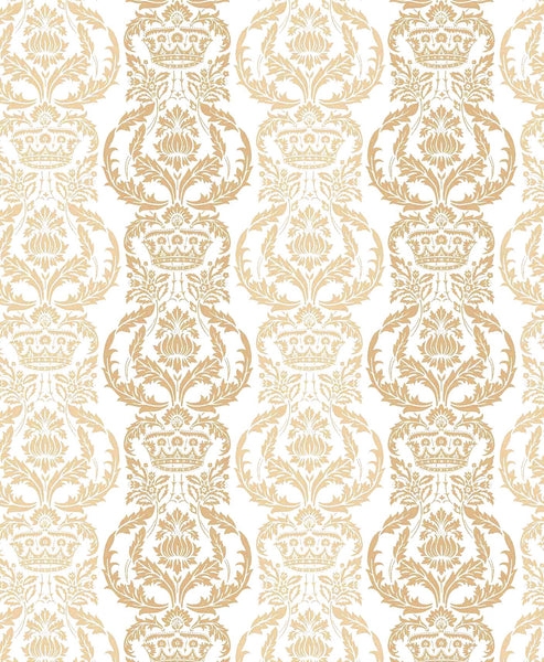 Venetian Floral wallpaper - gold & white