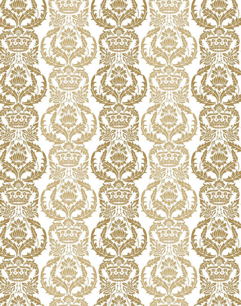 Venetian Floral Fabric - gold & white