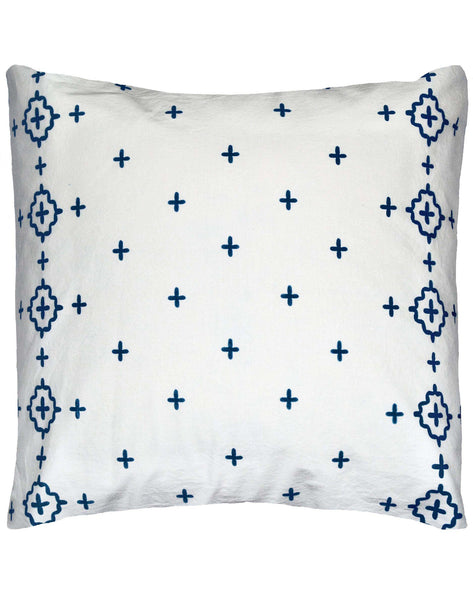 Aegean Islands Pillow - dark blue & white