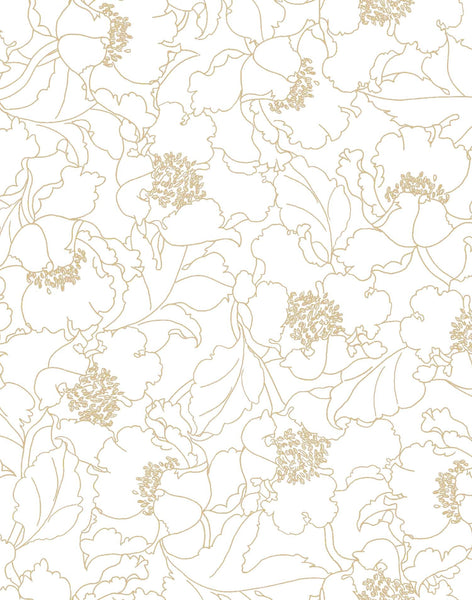 Wild Poppies Wallpaper - gold (hue) & white