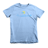 Kids Short Sleeve Cotton Tee - Baby Blue - Sun (7YRs-12YRs) - Always Sandy