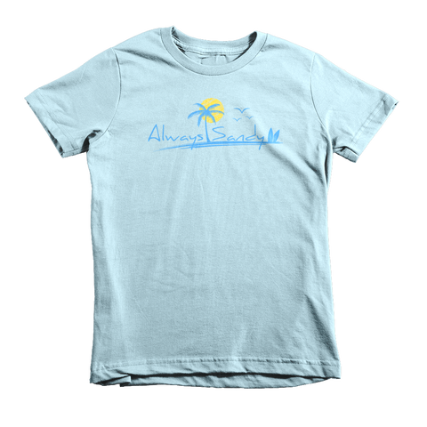 Kids Short Sleeve Cotton Tee - Light Blue - Sun (7YRs-12YRs) - Always Sandy