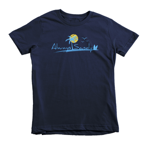 Kids Short Sleeve Cotton Tee - Navy - Sun (7YRs-12YRs) - Always Sandy