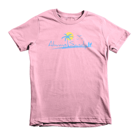 Kids Short Sleeve Cotton Tee - Pink - Sun (7YRs-12Yrs) - Always Sandy