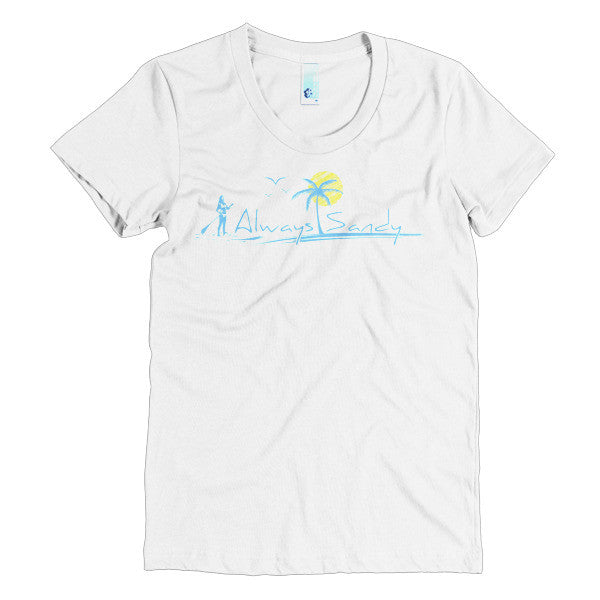 Women's Short Sleeve Scoop Neck T-shirt - 50/50 - SUP Paddleboard - Always Sandy