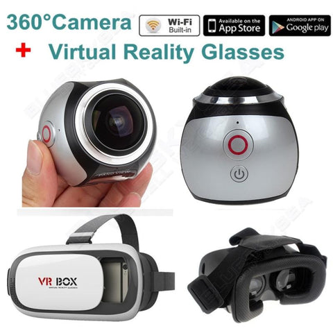 4K 360 Degree Virtual Reality Camera with 3D VR Glasses