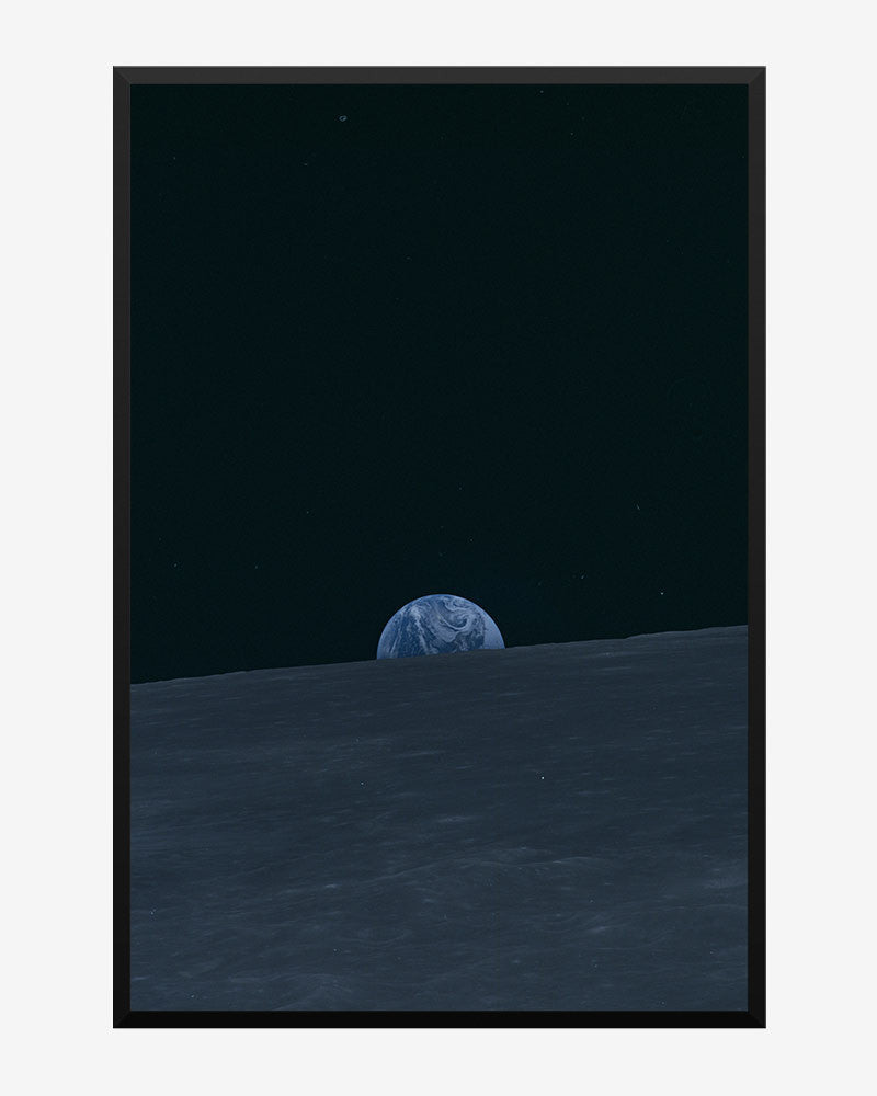 space posters, nasa posters, apollo 10 images, earth rises over lunar horizon