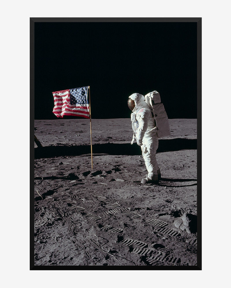 space posters, nasa posters, apollo 11 images, buzz aldrin poses with us flag