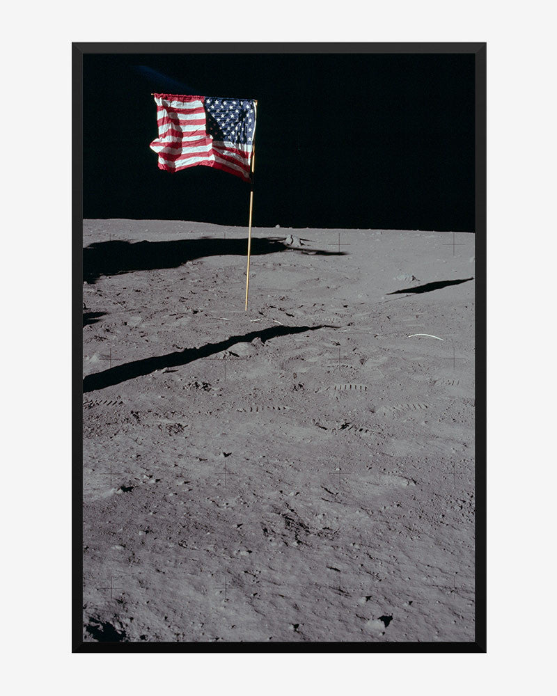 space posters, nasa posters, apollo 11 images, us flag on moon