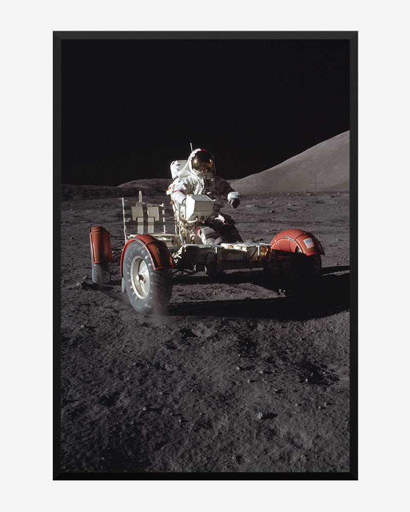 space posters, nasa posters, apollo 17 images, lunar rover cruise