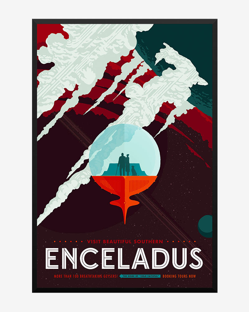 space posters, nasa visions of the future, enceladus
