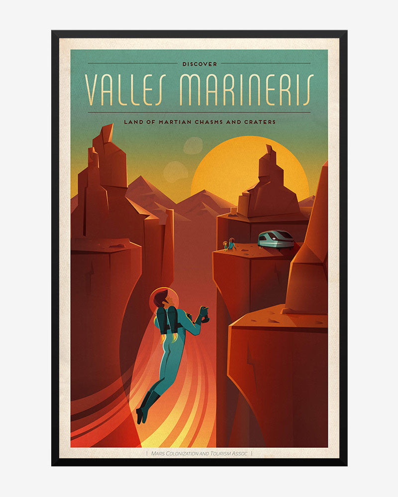 space posters, spacex poster,  mars colonization and tourism association, valles marineris