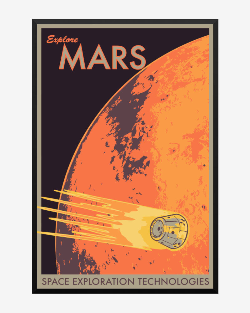 space posters, spacex poster, explore mars, space exploration technologies