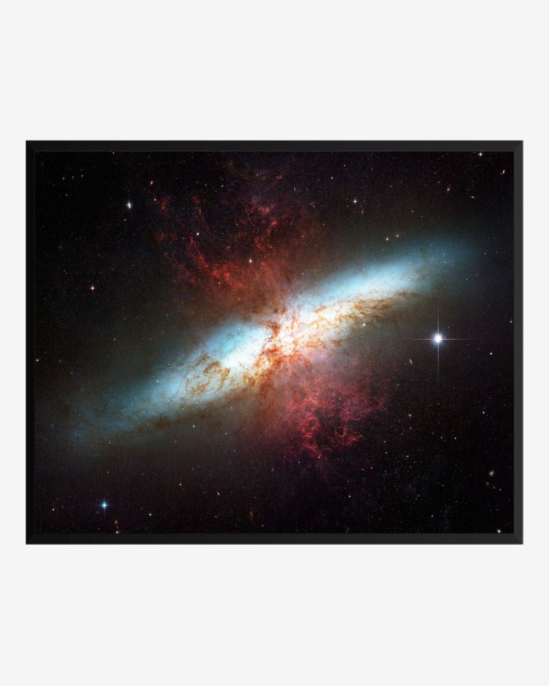 space posters, astronomy posters, hubble images, starburst galaxy m82
