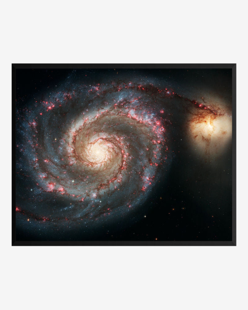 space posters, astronomy posters, hubble images, the whirlpool galaxy (m51) and companion galaxy, whirlpool galaxy, m51