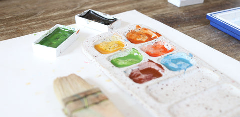 watercolor artist palette and hake brush