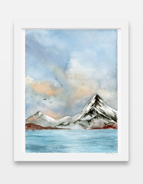 cold, bright lake with snowy mountain and cumulus clouds in watercolor