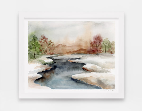 icy stream divides watercolor landscape into two snowy fields art print watercolor landscape