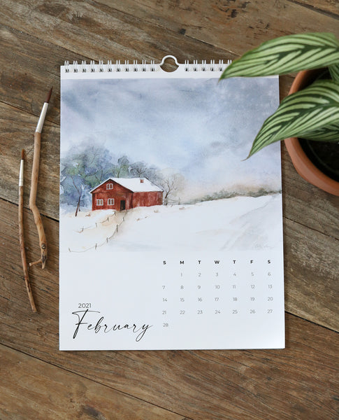 2021 art calendar featuring 12 watercolor landscape paintings by Cathy Zhang of Easy Sunday Club