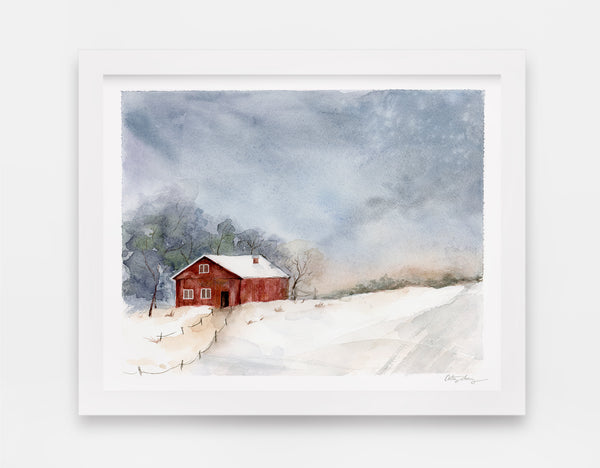 singular red barn in snowy field with ominous gray clouds above watercolor landscape